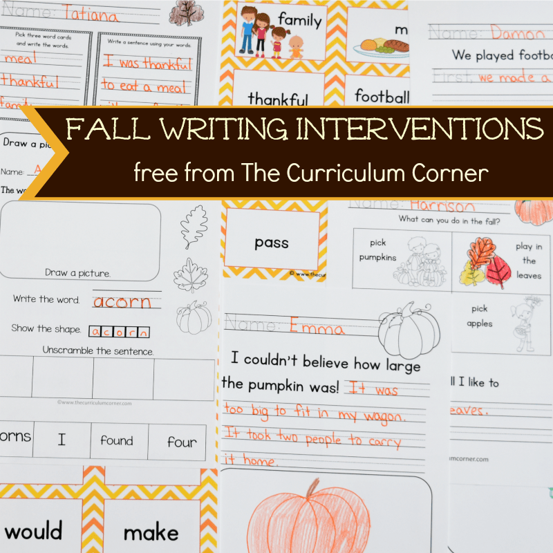 FREE Fall Writing Interventions from The Curriculum Corner 4 6