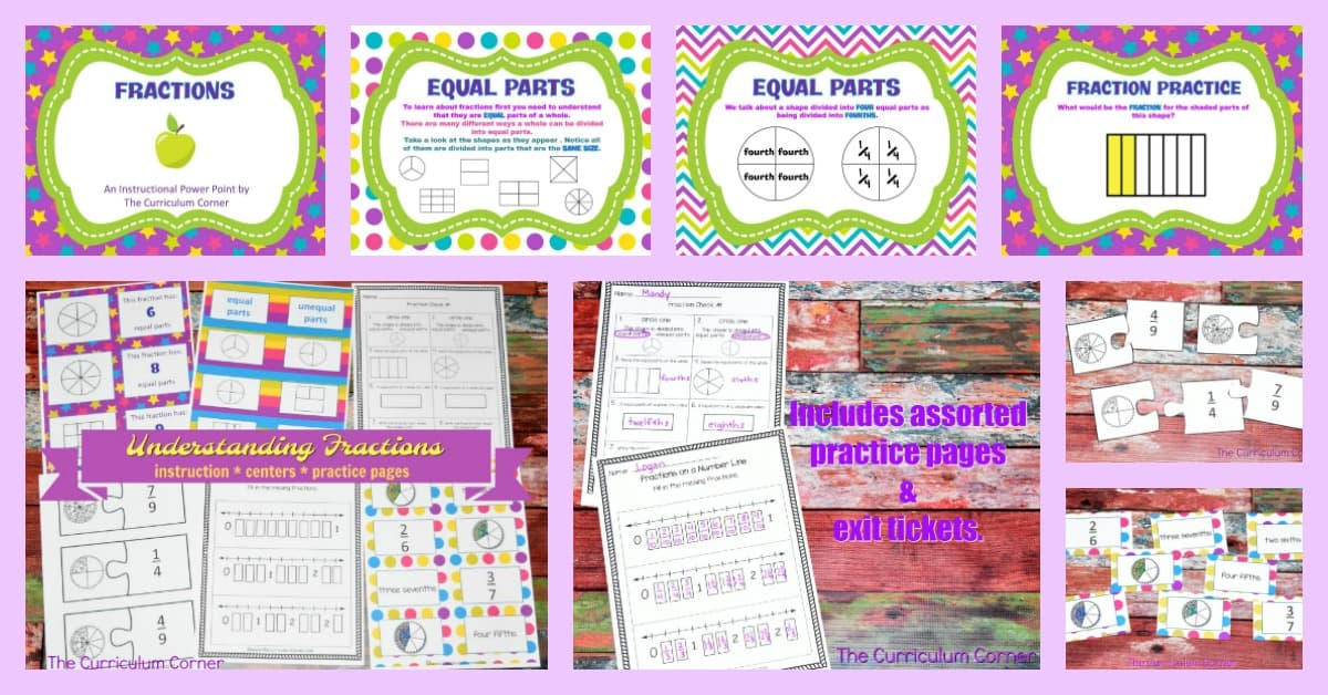 Working on fractions FREE from The Curriculum Corner   practice pages, assessments,exit tickets, instructional powerpoint 7