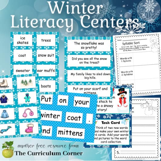 Winter Literacy Center Set