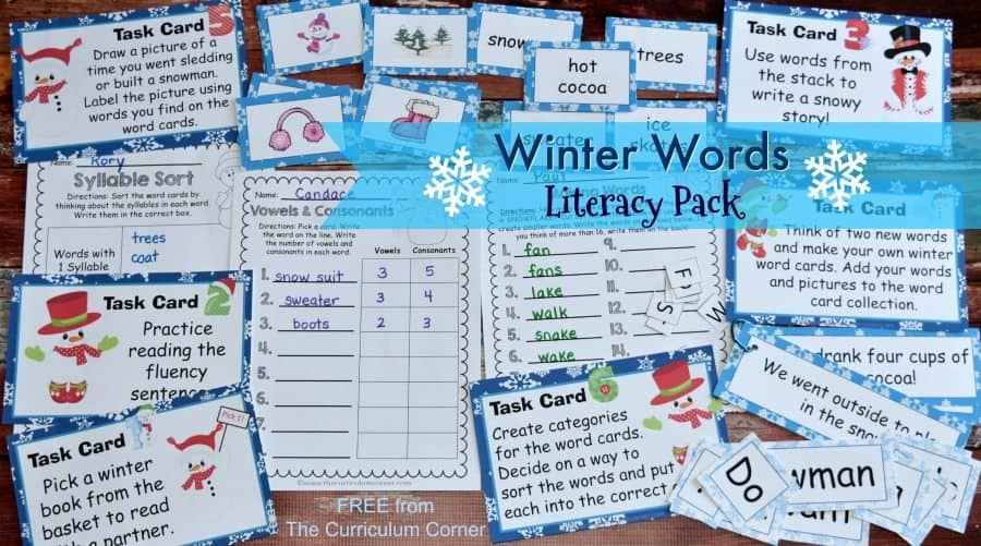This winter literacy center set is the perfect seasonal word work for this time of year! FREE from The Curriculum Corner
