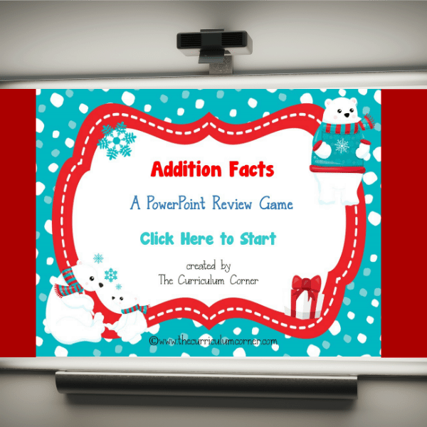 Winter Addition Facts PowerPoint Game