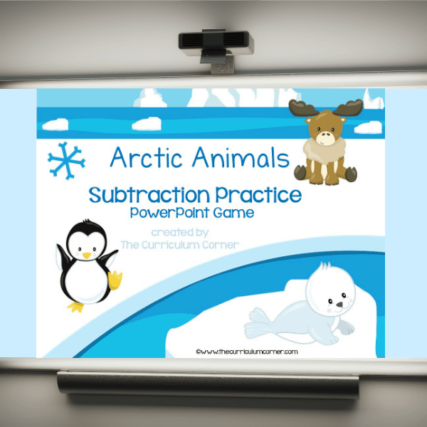 Arctic Animals Subtraction Facts PowerPoint Game