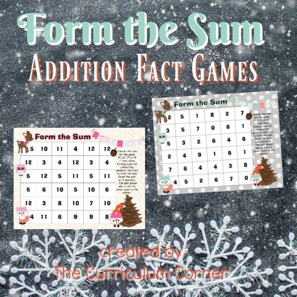 Form the Sum Winter Animals Game