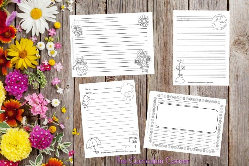 We have created a set of 100 spring lined papers with spring themed clip art to be used during your writing workshop. 2