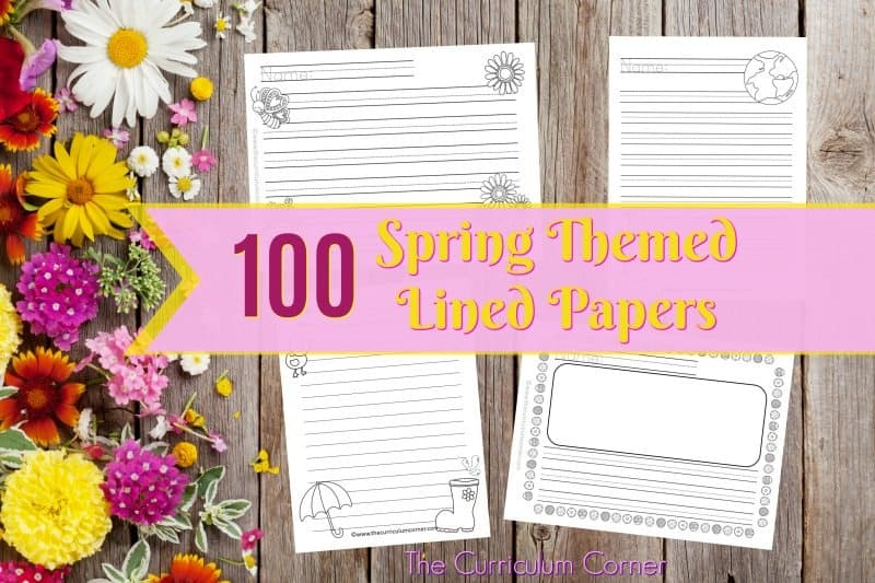We have created a set of 100 spring lined papers with spring themed clip art to be used during your writing workshop.