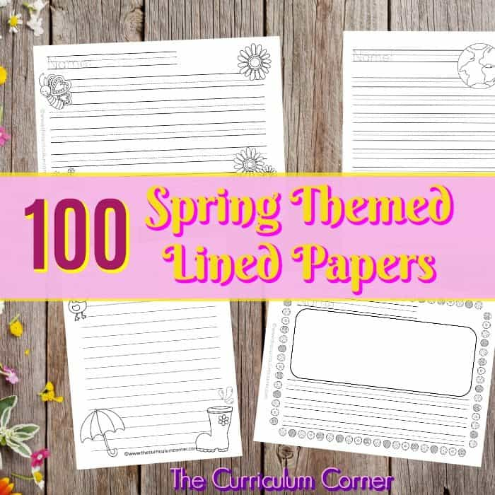 We have created a set of 100 spring lined papers with spring themed clip art to be used during your writing workshop. 4