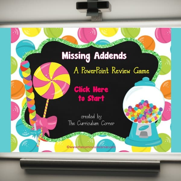 FREE Missing Addends PowerPoint Game | Candy theme | FREE from The Curriculum Corner