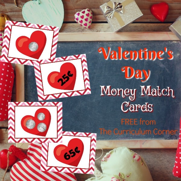 Valentine Money Matching Cards