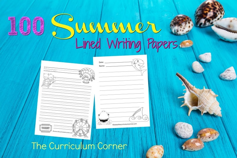 We have created a set of 100 summer lined papers with summer themed clip art to be used during your writing workshop.