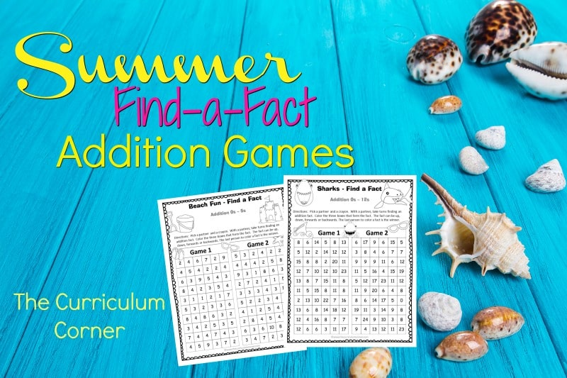 These summer addition fact practice games are designed to offer basic fact practice in a fun and engaging format!