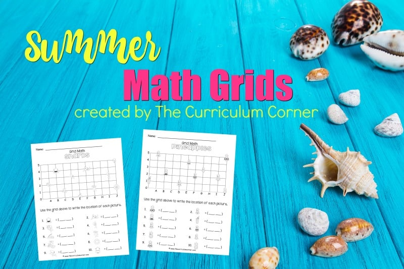 These summer math grids have been created as an engaging, free printable math activity for your classroom (coordinate grids.)