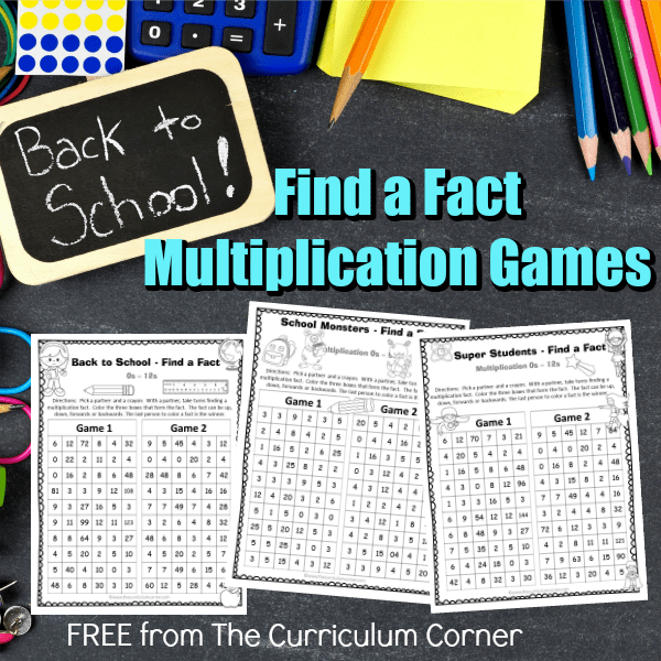 Back to School Find a Fact Multiplication
