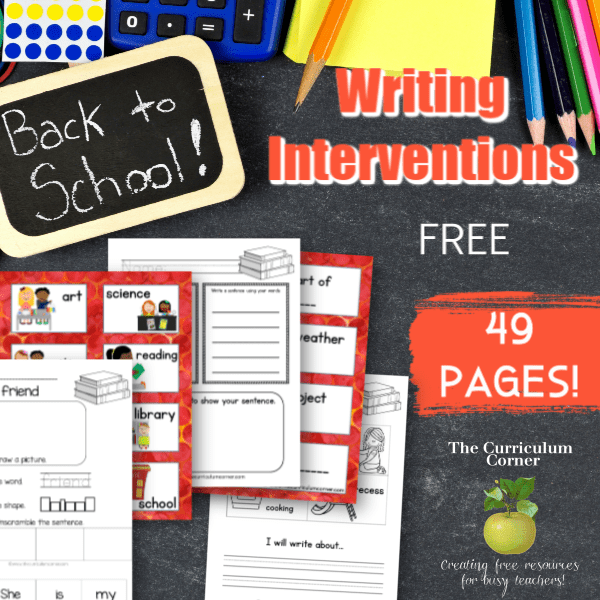 Back to School Writing Interventions