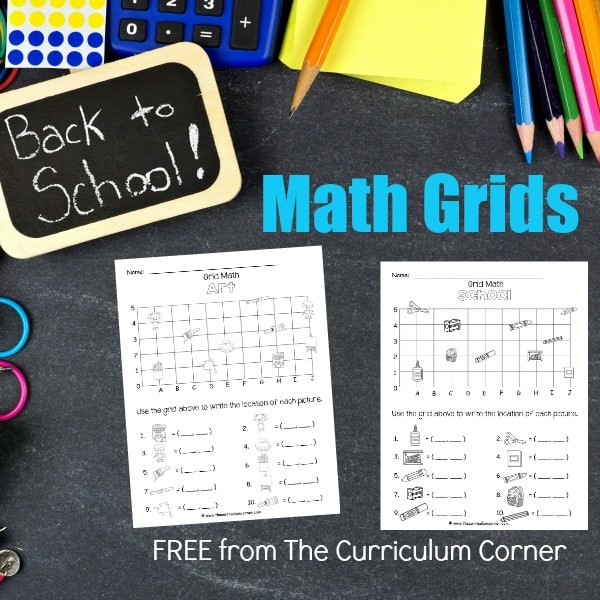 Back to School Math Grids (Coordinate Grids)