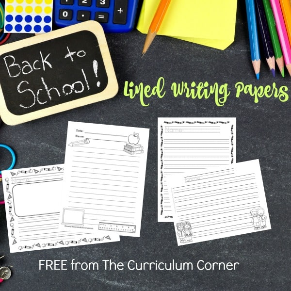Back to School Lined Papers