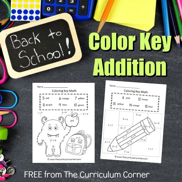 School Color Key Addition Practice