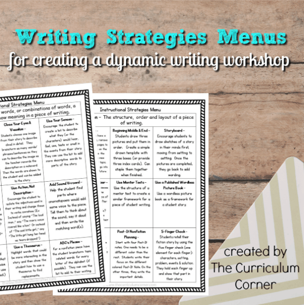 Writing Strategies Menus