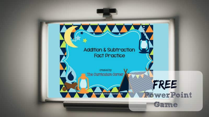 Use this camping addition and subtraction facts PowerPoint game to give your students practice with recalling basic facts.
