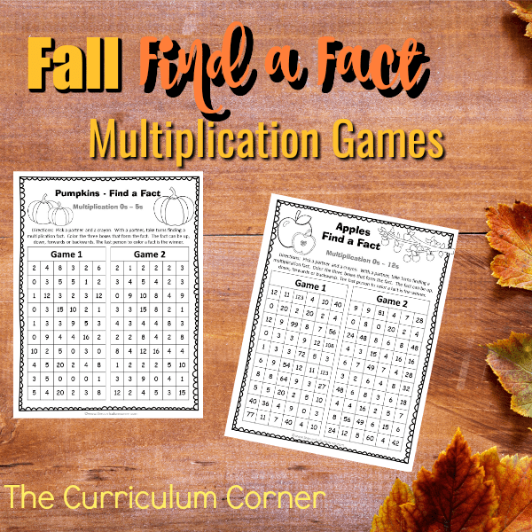 Fall Find a Fact Multiplication Games