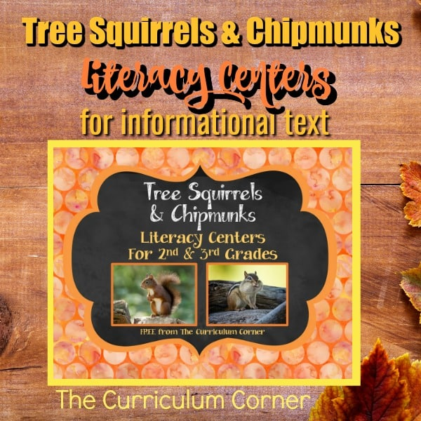Tree Squirrels & Chipmunks Literacy Centers