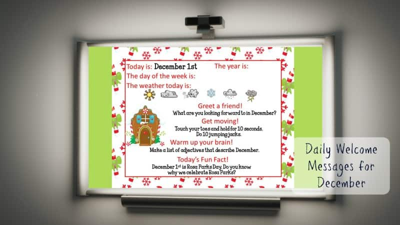 This set of free December Daily Welcome Messages is an easy way to get your students to enter the classroom and focus on the day ahead.