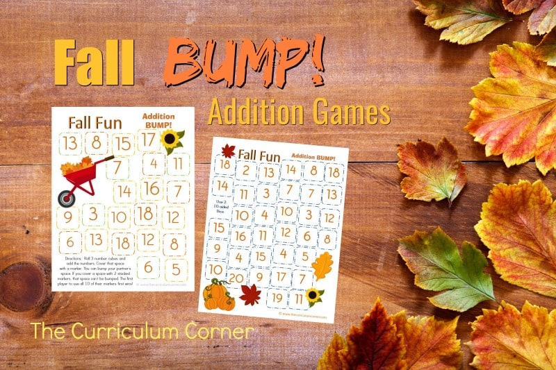 This set of free Fall Addition BUMP! Games have been created to help your students work on mastering their addition facts.