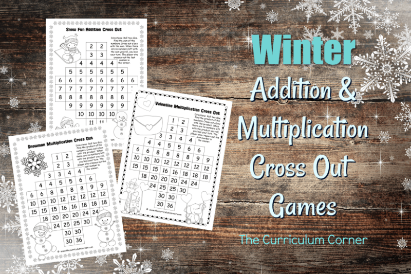 These free winter Addition & Multiplication Cross Out Games are a fun addition to your January and February math games.