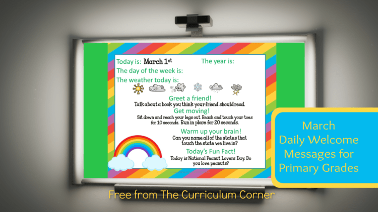This set of free March Daily Welcome Messages is an easy way to get your students to enter the classroom and focus on the day ahead.