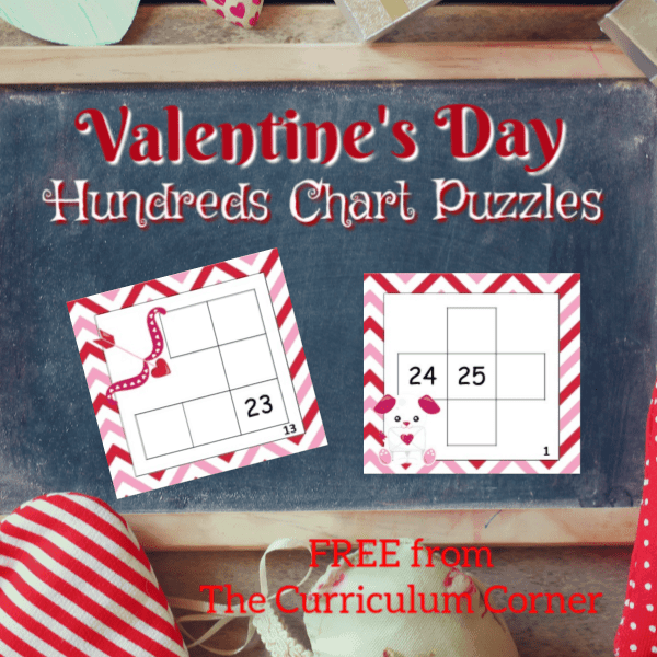 Valentine Hundreds Chart Puzzles