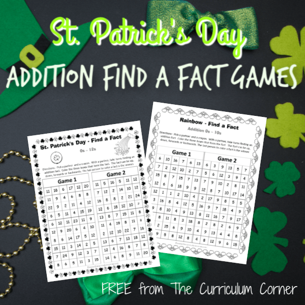 St. Patrick's Day Addition Find a Fact Games