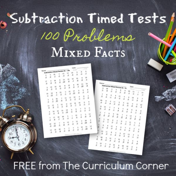 100 Subtraction Facts (Mixed Review Pages)