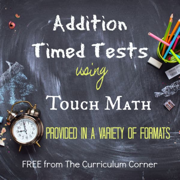 Touch Math Addition Timed Tests