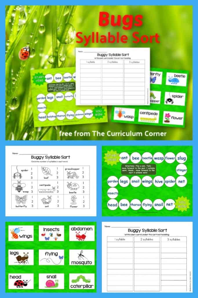 Our bugs syllable sort is designed to be an easy and quick phonics literacy center for spring. Students get seasonal syllable practice with these buggy themed words!
