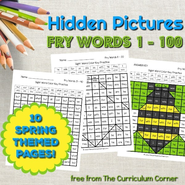 Spring Fry Word Hidden Pictures (Words 1 – 100)