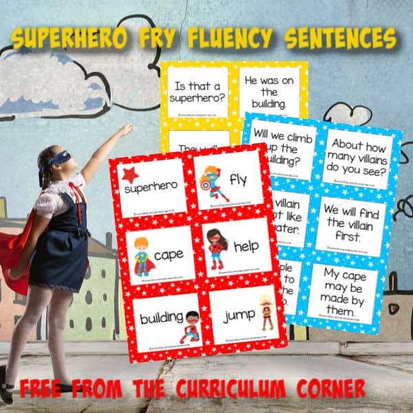 Superhero Fry Fluency Sentences
