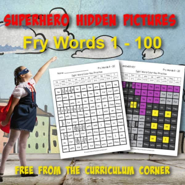 Superhero Fry Word Hidden Pictures