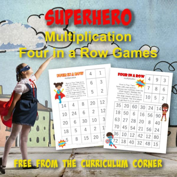 Superhero Multiplication Four in a Row