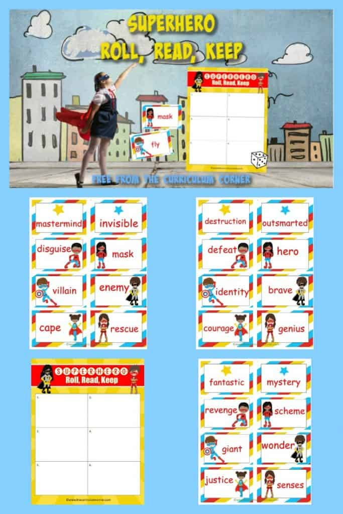 Create an engaging literacy center with this Superhero Roll Read Keep game, a free classroom resource from The Curriculum Corner.
