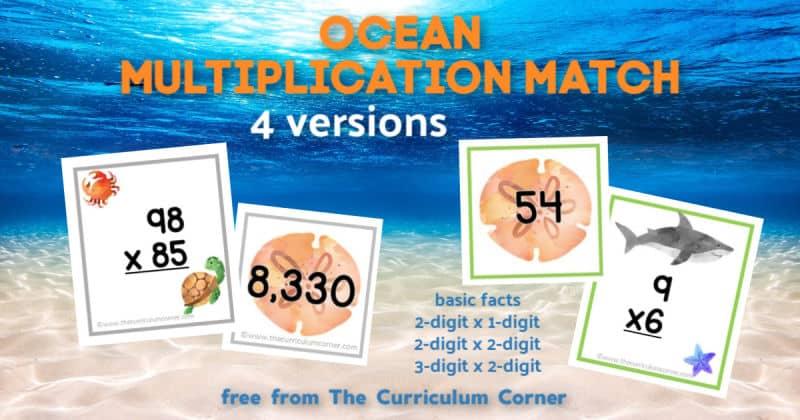 Ocean Multiplication Match Cards