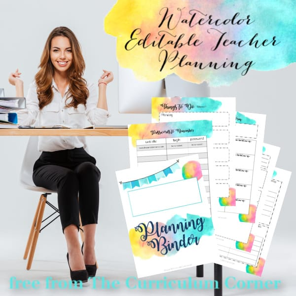 Watercolor Editable Teacher Binder