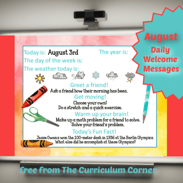 August Daily Welcome Messages
