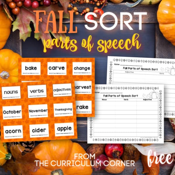 Fall Parts of Speech Sort