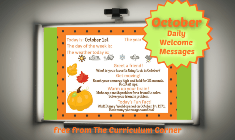October Daily Welcome Messages