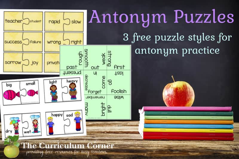 These free antonym puzzles can be used to help your students working on understanding antonyms.