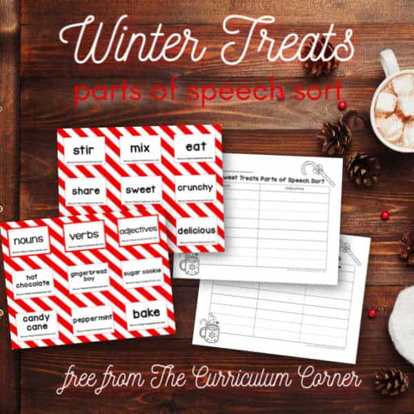 Winter Treats Parts of Speech Sort