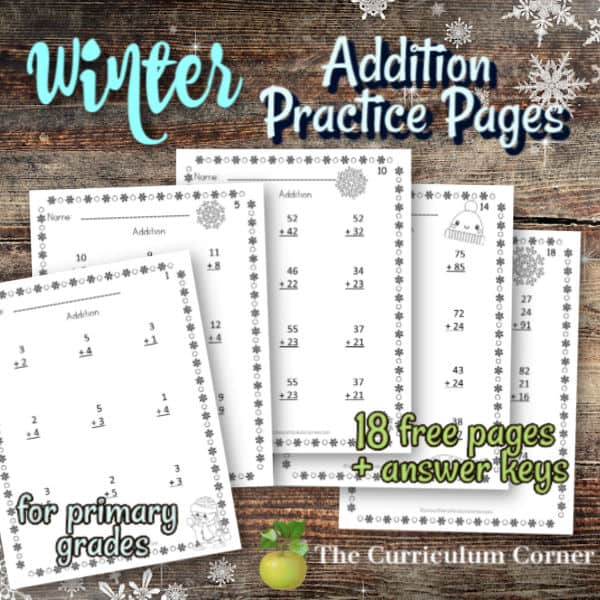Winter Addition Practice Pages