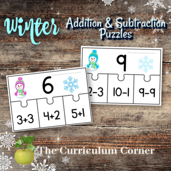 Winter Addition & Subtraction Fact Puzzles