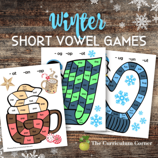 Winter Short Vowel Board Games