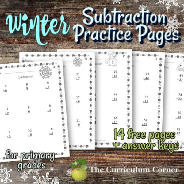Winter Subtraction Pages