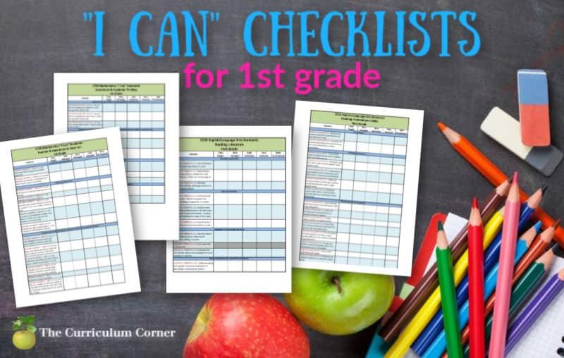 1st grade I can checklists